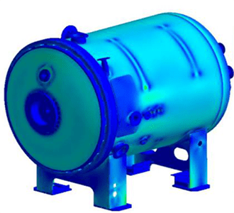 A pressure vessel analysed according to ASME VIII BPVC using ANSYS