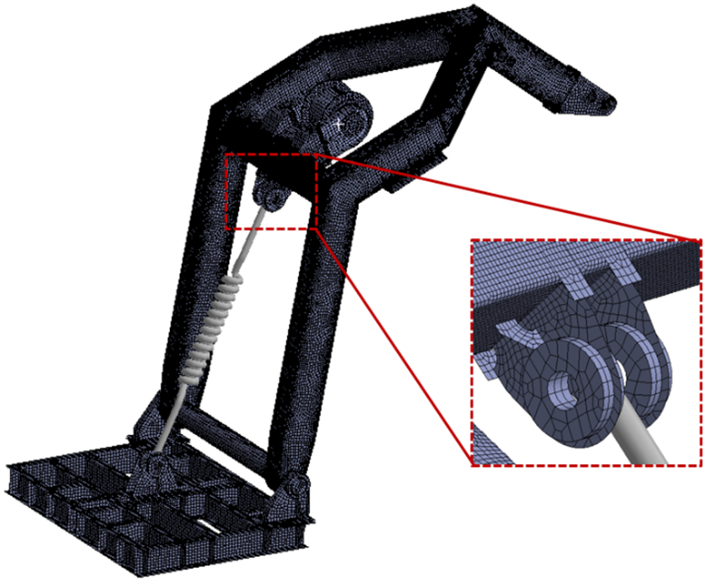 Global mesh of Davit with detailed mesh of spring connection