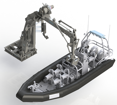 Davit connected to Rigid Inflatable Boat