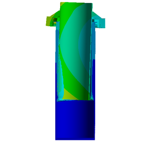 Deformation contour on the assembly geometry