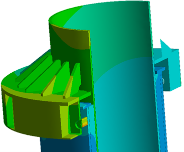 Deformation contour on the pile gripper geometry