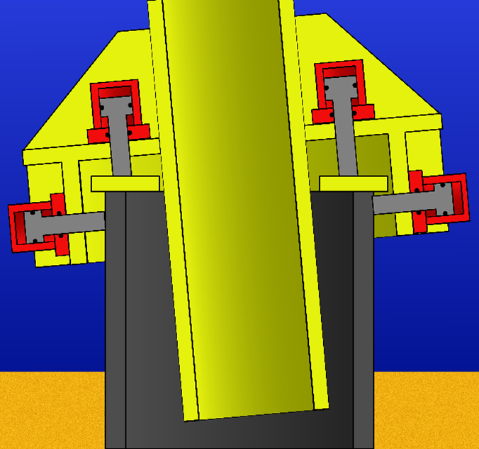 Illustration of a conventional pile gripper with a slanted jacket leg