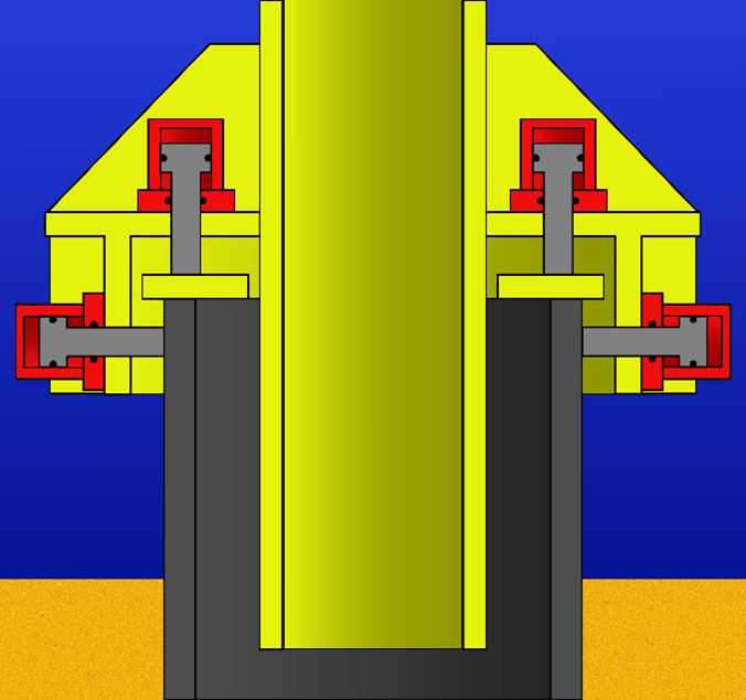 Illustration of a conventional pile gripper with a straight jacket leg
