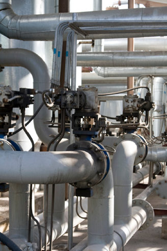 A system of multiple pipes, flanges and small bore connections
